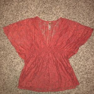 Salmon Lace Top XL